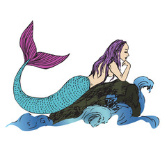 Mermaid laying on rock in sea waves, hand drawn outline doodle sketch, color vector illustration