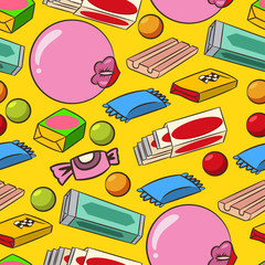 Cartoon bubblegum seamless pattern. Vector retro texture on yellow background.
