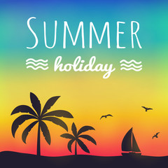 Summertime - silhouette of palm trees on colourful background. Poster with text. Vector.