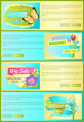 Spring Discount New Offer Set Vector Illustration