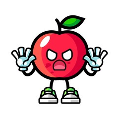 Apple zombie mascot cartoon illustration