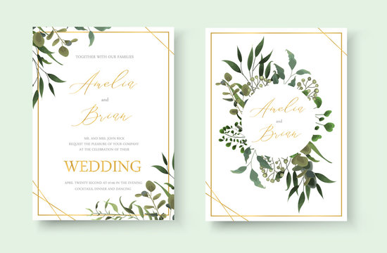 Wedding floral golden invitation card save the date design with green tropical leaf