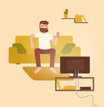 Male cartoon character sitting on cozy couch in front of television set, drinking beer and having fun at home. Young bearded man on comfortable sofa watching TV. Flat colorful vector illustration.
