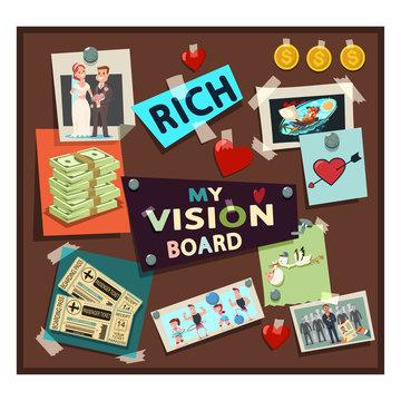 Vision board samples vector cartoon illustration with dreams and desires.