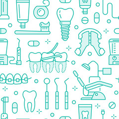 Dentist, orthodontics blue seamless pattern with line icons. Dental care, medical equipment, braces, tooth prosthesis, floss, caries treatment, toothpaste. Health care background for dentistry clinic.
