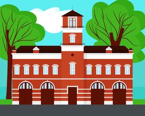 Fire station cartoon on landscape