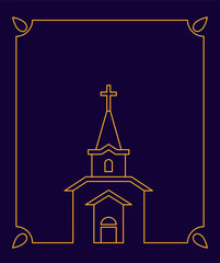 Church Catholic Christian house religion and frame. Vector illustration