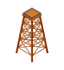 Wooden tower Industrial isometry isolated. Vector illustration