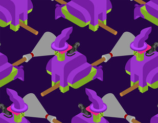 Witch on broom pattern seamless. Halloween background Vector illustration.