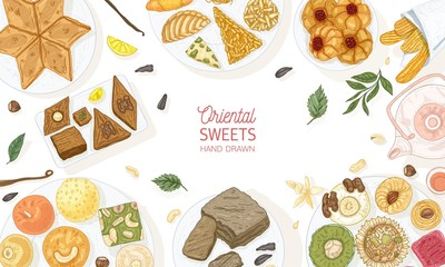 Horizontal banner template with oriental sweets lying on plates on white background, top view. Traditional desserts, tasty confectionery, delicious pastry products. Hand drawn vector illustration.