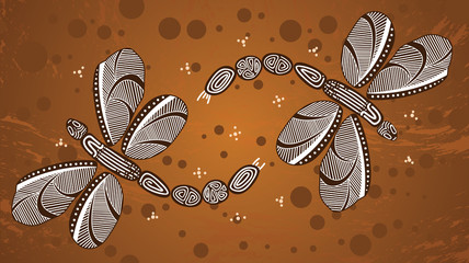 Dragonfly aboriginal art vector painting. Illustration based on aboriginal style of landscape background.