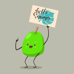 "Funny Guava with a sign ""Hello Summer"". Vector cartoon fruit character isolated on background."
