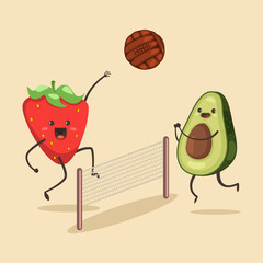 Funny Avocado and Strawberry play in beach volleyball. Vector cartoon character of cute fruit of summer activities. Illustration of sport and healthy lifestyle.
