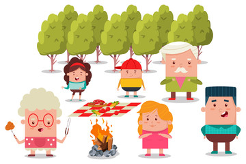 Happy family at a picnic. Barbecue flat illustration with grandfather, grandmother, mom, dad, daughter and son. Vector cartoon characters of a man, woman and children.