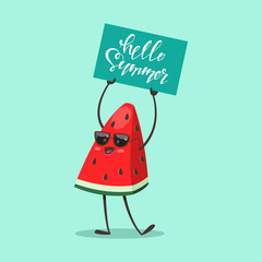 """Funny Watermelon in sunglasses with a sign """"Hello Summer"""". Vector cartoon fruit character isolated on background."""