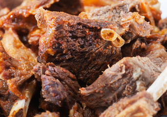 Pieces of fried meat