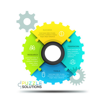 Modern infographic design layout, jigsaw puzzle in shape of gear wheel