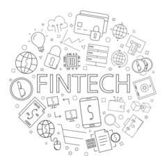 Vector fintech pattern with word. Fintech background