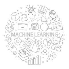 Vector machine learning pattern with word. Machine learning background