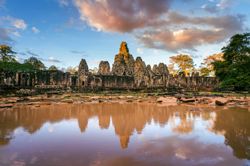 Wall Mural - Bayon Temple with giant stone faces, Angkor Wat, Siem Reap, Cambodia.