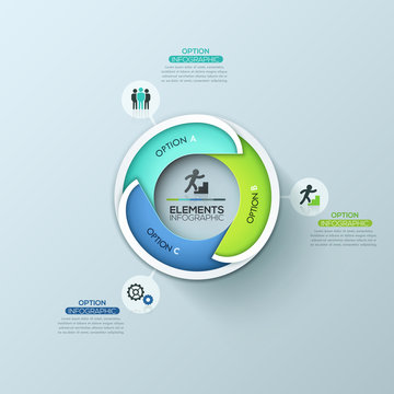 Creative circular infographic design template with 3 lettered overlapping elements