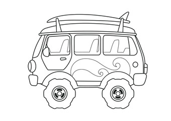 Vintage Bus Side View Coloring Book Page. Line Art