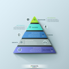 Modern infographic design template, triangular chart with 5 numbered layers or levels