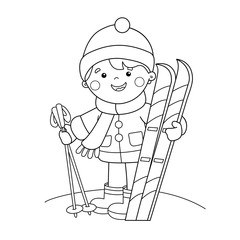 Coloring Page Outline Of cartoon boy with skis. Winter sports. Coloring book for kids