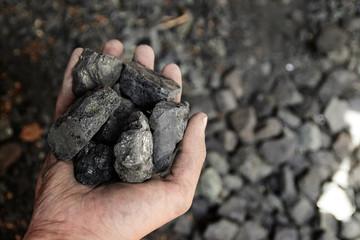 Man hand holding coal. coal mining.