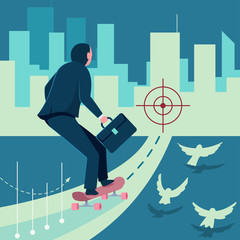 Successful businessman is riding a skateboard to his target. Vector cartoon business concept illustration of man, pigeons and cityscape.