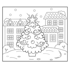 Christmas tree with ornaments and gifts in the city. Christmas. New year. Coloring book for kids. Coloring Page