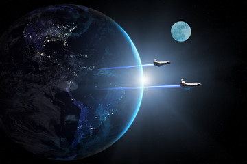 Blue planet Earth. Space shuttles taking off on a mission. Elements of this image furnished by NASA.