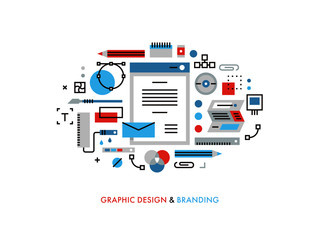 Thin line flat design of useful designer graphic tools, corporate colors for brandbook, designing new visuals for prints and packages. Modern vector illustration concept, isolated on white background.