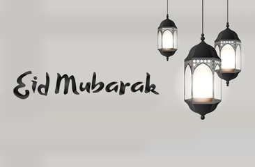 Eid Mubarak greeting on white background with beautiful illuminated arabic lamp
