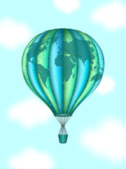 Search photos by bigbaraboom vector conceptual art of hot air balloon with world map concept of travel around the gumiabroncs Gallery