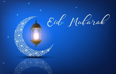 Eid Mubarak background with arabic lantern and crescent moon