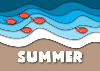 Summer banner template in A4 format, with sea or ocean waves,tropical sand beach, red fish and text