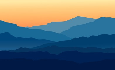 Spoed Fotobehang Nachtblauw Vector landscape with blue silhouettes of mountains and hills with beautiful orange evening sky. Huge mountain range silhouettes in twilight. Vector hand drawn illustration.