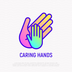 Little hand in big, symbol of caring thin line icon. Modern vector illustration.