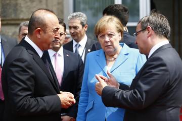 German Chancellor Merkel, North-Rhine Westphalia NRW federal state Prime Minister Laschet and Turkish Foreign Minister Cavusoglu meet in Dusseldorf