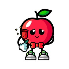 Apple give flowers mascot cartoon illustration