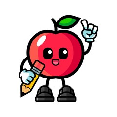 Apple hold pencil mascot cartoon illustration
