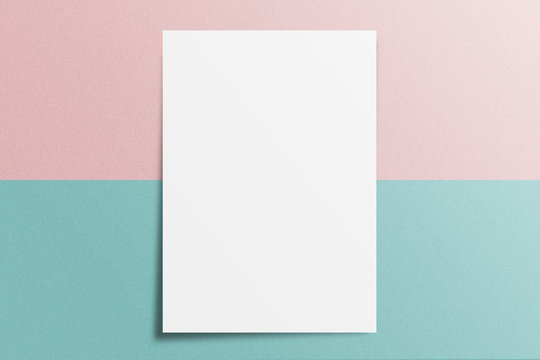 Blank A4 paper template on two color paper with blue and pink of background.