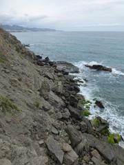 Playa de Calaceite de Nerja en la Costa del Sol de MAlaga ( Andalucia, España)