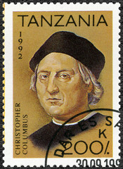 TANZANIA - 1992: devoted to 500th anniversary of the discovery of America, shows Christopher Columbus (1451-1506)