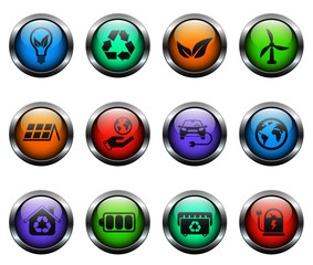 alternative energy vector icons on color glass buttons