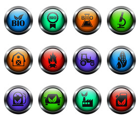 bio fuel vector icons on color glass buttons