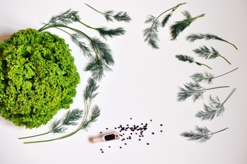 Composition with lettuce, dill and pepper on white background, copy space
