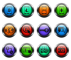cryptocurrency vector icons on color glass buttons