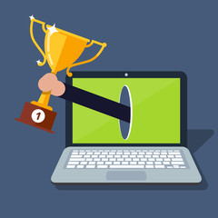 Online award goal achievement. Laptop computer and success winner gold cup prize. Electronic reward. first place victory. Digital competition winner. Internet champion icon image. Vector illustration.